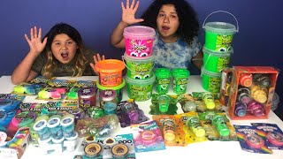 Download MIXING ALL OUR STORE BOUGHT SLIMES - NEW SLIMES PART 1 - GIANT SLIME SMOOTHIE Video
