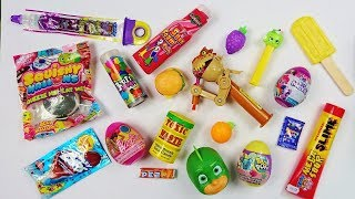 Download Mixing crazy candy, opening toy candy dispensers Pikmi Pops, Barbie, MLP surprise eggs, slime candy Video