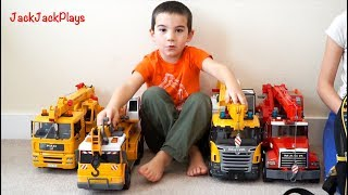 Download Pretend Play Fishing with Crane Trucks: Kids Playing with Bruder Toys Video