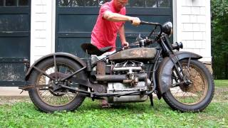 Download 1928 Henderson Deluxe Antique Motorcycle Running Video