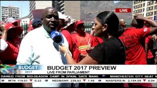 Download Nehawu members gather outside Parliament Video