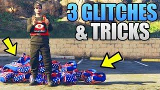 Download GTA 5 Online - 3 NEW GLITCHES & TRICKS (Unlimited Parachute, On-Foot Radio & Secret Hiding Spot) Video
