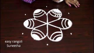 Download Beautiful kolam with 5 dots || easy rangoli new muggulu designs Video