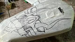 Download Belajar tahap airbrush motif tengkorak // tangki rx king // skull step by step // PONDOH CUSTOM Video