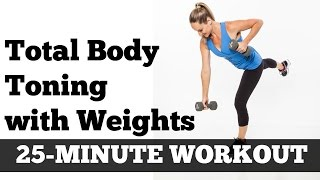 Download Full Body Full Length Fat Burning Workout | Total Body Toned 25 Minute Home Exercise With Dumbbells Video