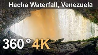 Download 360°, Canaima Lagoon, Venezuela. Part II. Hacha Waterfall. 4K aerial video Video