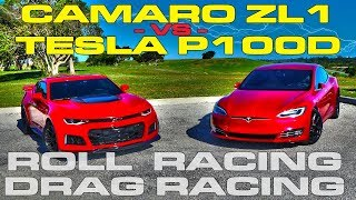 Download Muscle vs Electric - Tesla Model S P100D Ludicrous vs Chevrolet Camaro ZL1 Drag and Roll Racing Video