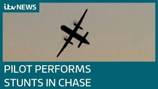 Download Stolen Seattle airport plane does stunts while being chased by fighter jets | ITV News Video