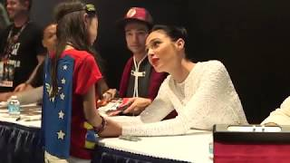 Download Gal Gadot comforts young Wonder Woman fan at Comic Con 2017 Video