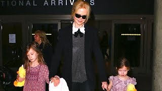 Download Nicole Kidman Arrives At LAX With Adorable Matching Daughters Video