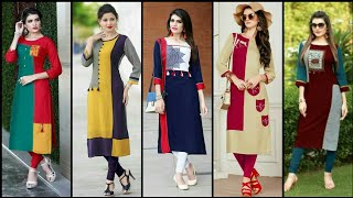 Download High Class Stylish And Trendy Designer Party Wear Plain Contrast Kurti Design Video