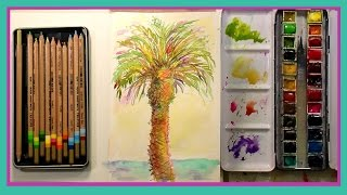 Download Watercolor Palm Tree with Colored Pencil & Jane Davenport Journal First Impression Video
