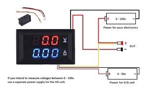 Download DC 100V 10A Voltmeter Ammeter Blue + Red LED Amp Dual Digital Volt MeterA meter Video