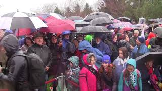 Download Crowds stand in cold rain to remember the Halifax Explosion Video