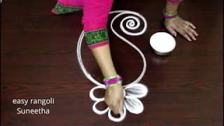 Download Beautiful Peacock kolam with Lotus || Creative designs for beginners || easy rangoli muggulu Video