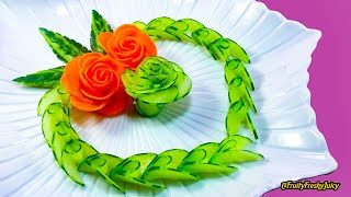 Download Lovely Cucumber & Carrot Rose Flower Design - Fruit & Vegetable Carving & Cutting Garnish Video