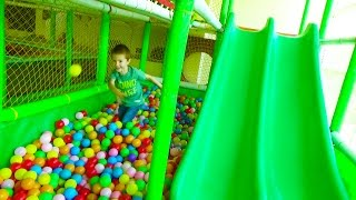 Download New GREAT Indoor Playground fun for kids with Ball PIT BALLS Funny Slides and more Video