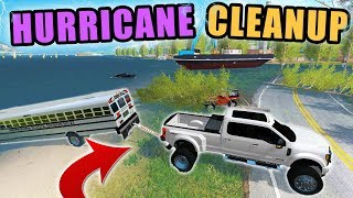 Download TOWING OUT FROM DEVASTATING HURRICANE! CLEANUP TIME | FARMING SIMULATOR 2017 Video