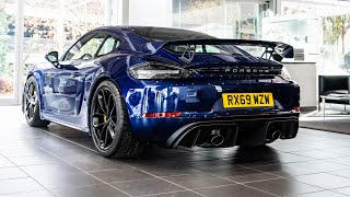 Download Stunning Gentian Blue Porsche 718 Cayman GT4 collection and REVVING!! Video