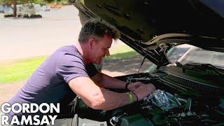 Download Gordon Ramsay Cooks Sea Bass On A Car Engine! Video