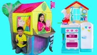 Download Jannie Pretend Play with Peppa Pig Treehouse Tent Toy with Lyndon Video