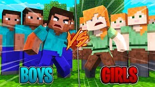 Download Minecraft | GIRL ARMY VS BOY ARMY! (1000 Girls vs 100 Boys) Video