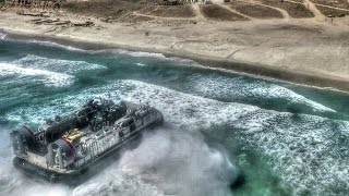 Download US Military Hovercraft LCAC & Assault Amphibious Vehicle Beach Landing Aerial View Video