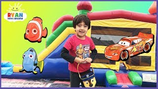 Download KIDS SURPRISE TOY HUNT CHALLENGE Giant Inflatable Outdoor Playground for Kids! Disney Cars Thomas Video