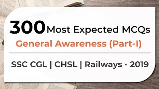 Download 300 Most Expected MCQs General Awareness SSC CGL   CHSL   Railways - 2019 (Part 1) Video