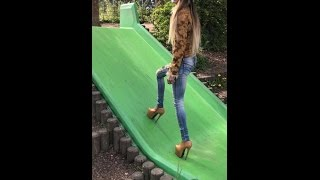 Download unboxing Fan gift 7,5″ inch 19cm Extreme High Heel Boots brown Public Heels Platform uneven path Video