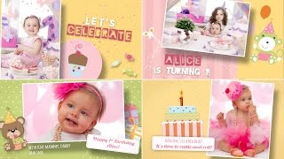 Download Happy Birthday Template Free for After Effects - Girl version Video