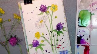 Download How to paint wildflowers in watercolor easy tutorial Video