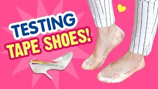 Download Can You Walk in DIY SHOES Made From TAPE?!! DIY Heels & Flats Test! Video