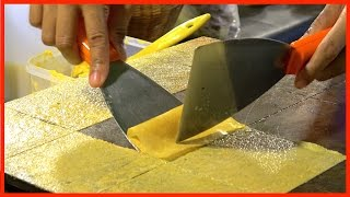 Download How they make SQUARE Butter CRISPY Pancake | Street Food Snack Dessert Video