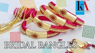 Download DIY    How to make Designer Bridal bangles at Home    2 color silk thread bangles Video
