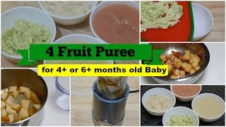 Download 4 Fruit Puree for 4+ or 6+ months Baby l Healthy Baby Food Recipe l Stage 1 Homemade Baby Food Video