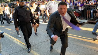 Download Raw video: Ed Orgeron goes nuts as LSU arrives for Alabama game Video