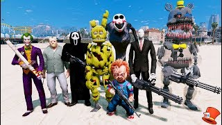 ANIMATRONICS & SPIDERMAN WITH INFINITY GAUNTLET vs GIANT VENOM! (GTA
