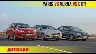 Download Toyota Yaris vs Hyundai Verna vs Honda City | Comparison Test Review | Autocar India Video