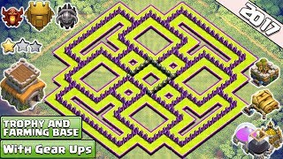 Download New 'BEST' Town Hall 8 (TH8) TROPHY/Farming Base Design!! With Gear Up Cannon & Archer Tower - COC Video