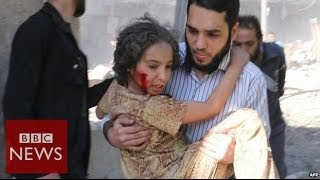 Download Effects of barrel bombs on Aleppo- BBC News Video