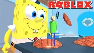 Download ESCAPE GIANT SPONGEBOB COOKING PATTIES AS BALDI!! | The Weird Side of Roblox: Krusty Krab Obby Video