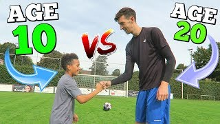 Download 10 YEAR OLD VS 20 YEAR OLD EPIC CROSSBAR CHALLENGE (NEXT RONALDO?) Video