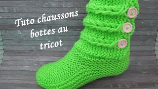 Download TUTO CHAUSSON TRESSE TORSADE AU TRICOT Booties knitting BOTITAS BOTAS TEJIDAS DOS AGUJAS Video
