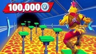 Download Little Brother Gets 100K VBucks if He Wins (Fortnite Floor is Lava Parkour Challenge) Video