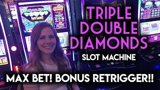 Download Max Betting and Chasing the BONUS on Triple Double Diamond! Re-Trigger! Video