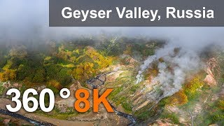 Download Valley of Geysers, Kamchatka, 8K aerial 360 video Video