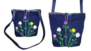 Download How To Make Long Stripe Hand Bag From Old Jeans, DIY Easy Hand Bag, Old Cloth Reuse Ideas Video