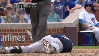 Download CHC@MIL: Segura hit in head by pitch, exits game Video