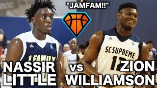 Download JamFam's Zion Williamson & Nassir Little FACE OFF in a BATTLE Between 1Family & SC Supreme!! Video